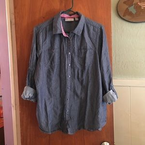 Avenue crinkled chambray top sz 14/16